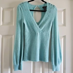 Arden B Robin Egg Blue Angora Mix Sweater Keyhole